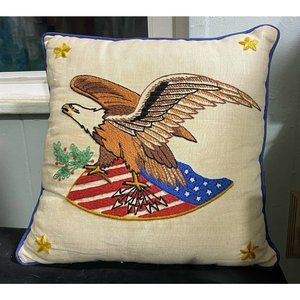 Vintage  Crewel Embroidered Pillow American Eagle
